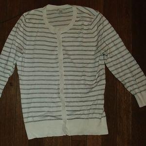 Like New Halogen White Grey Striped Cardigan M
